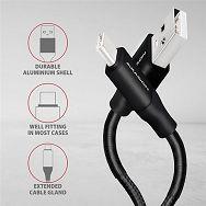 AXAGON BUCM-AM20SB,Kabel USB-C<>USB Type-A,Crni opruga