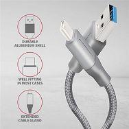 AXAGON BUCM3-AM10G,Kabel USB-C<>USB Type-A,Sivi
