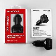 AXAGON PWC-DQC car charger 2x QC3.0, 36W, crni