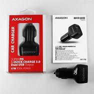 AXAGON PWC-PDQ car charger 1x QC3.0 + 1x PD USB-C, 45W, Crni