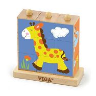 Drvene kocke puzzle s postoljem - divlje životinje (9 kom)
