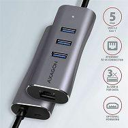 USB HUB AXAGON HMA-GL3AP 3x USB-A + GLAN + micro USB, 20cm